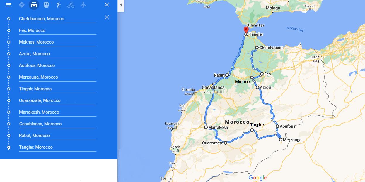 putovanje u Maroko cijela ruta travelina