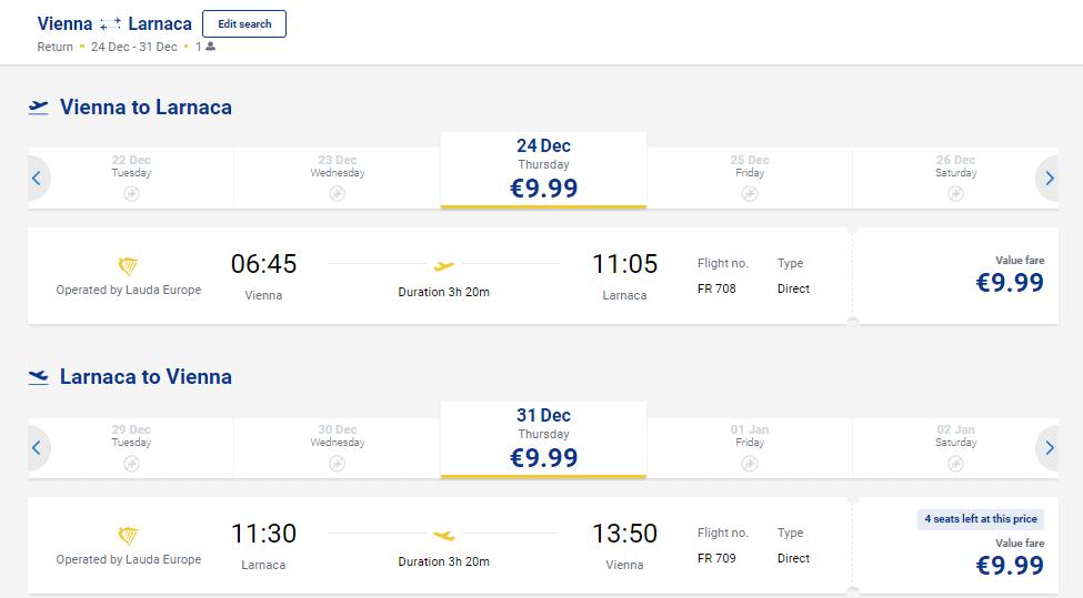 Beč - Larnaca Ryanair popust