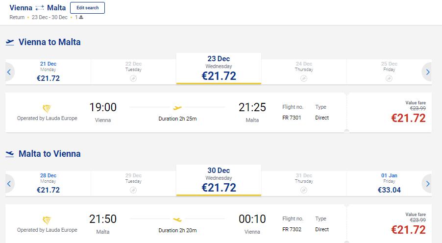 Beč - Malta Ryanair