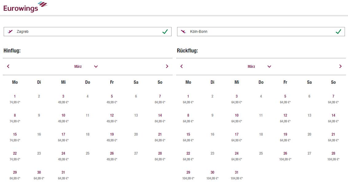 Kalendar cijena aviokarata